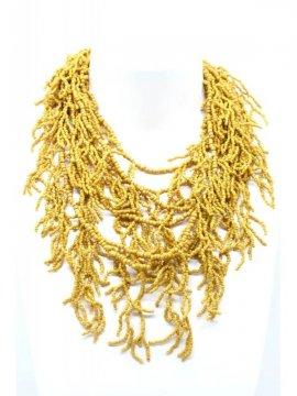 copy of Sautoir perles corail Palme jaune