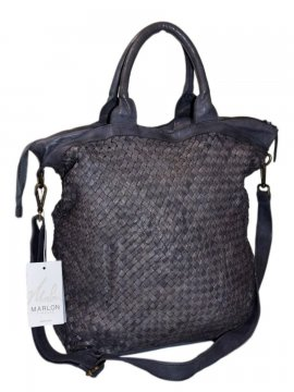 sac dallas cuir tresse gris 2