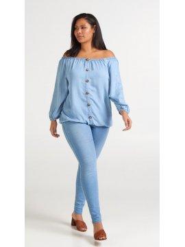 Yasmine, top jean, grande taille, marque Zizzi devant