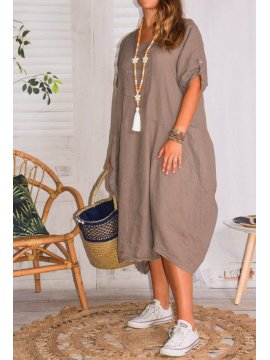 Margot, robe originale en lin, grande taille, Lagenlook taupe face
