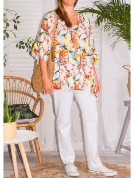 Exotica, Top fleuri, Lagen Look blanc profil