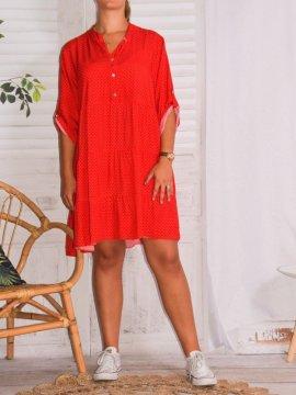 robe fluide imprimée pois grande taille rouge face