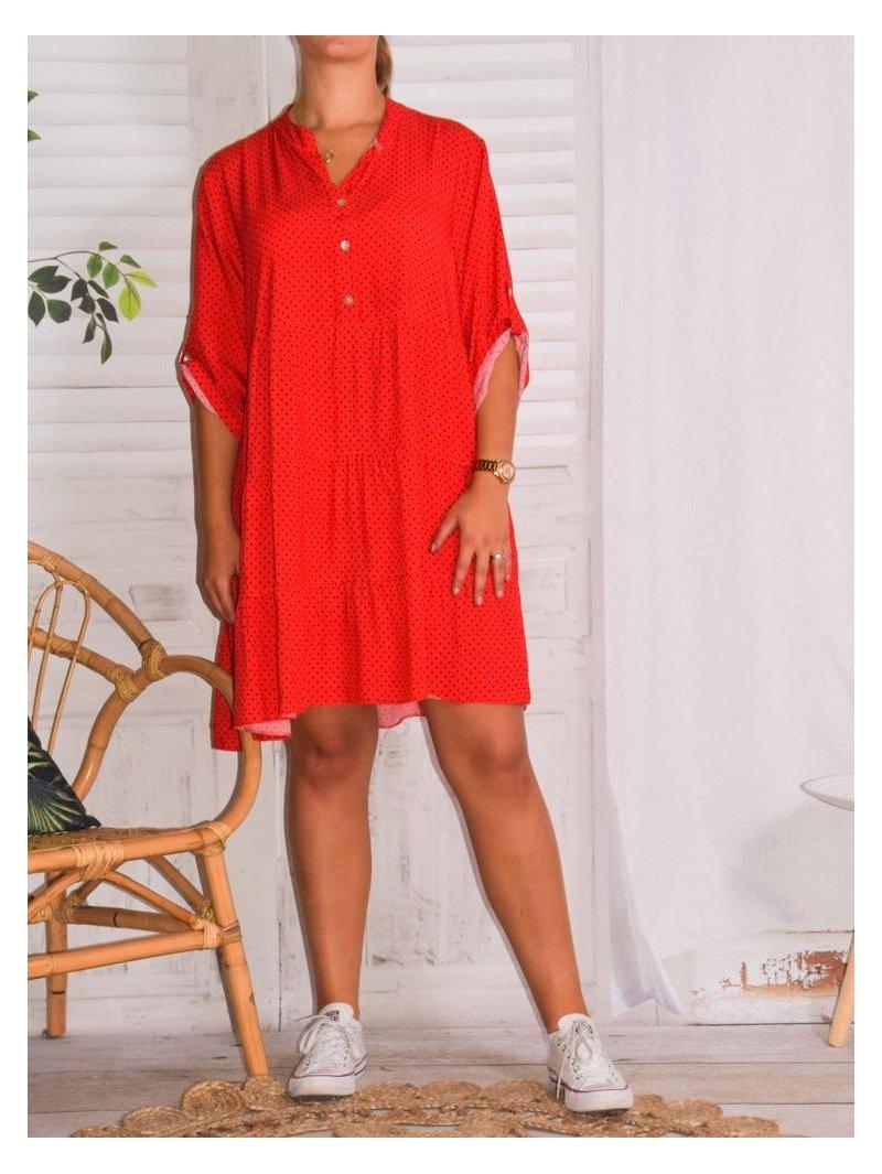 Robe Alison Fluide Imprime Pois Selectionnez Votre Taille 50 52 Couleur Rouge Kalimbaka