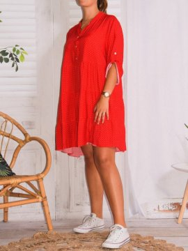 Robe Alison pois, grande taille rouge profil