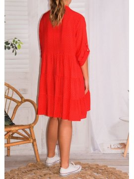 Robe Alison pois, grande taille rouge dos
