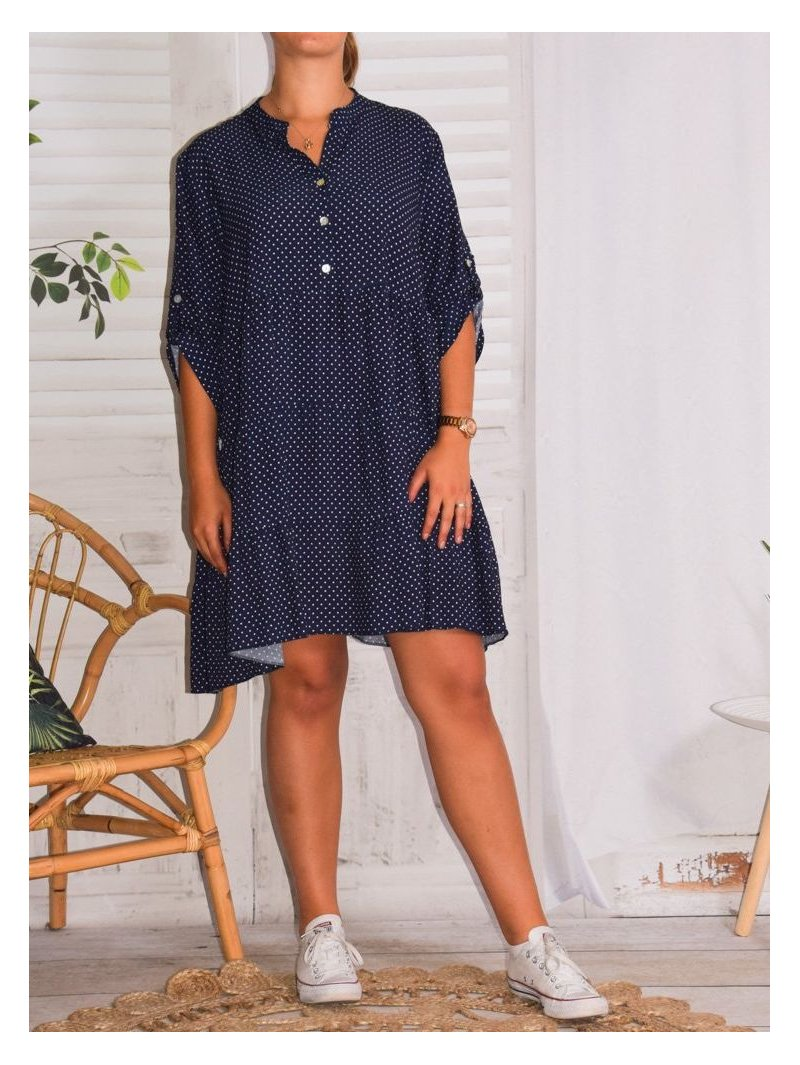 Robe Alison pois, grande taille marine face