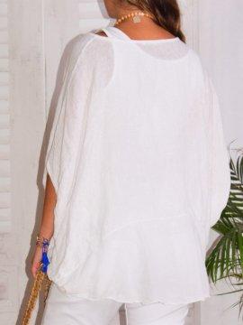 Eponine, top en gaze de lin, marque Lagenlook blanc dos zoom 4