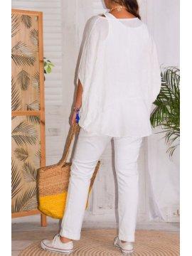 Eponine, top en gaze de lin, marque Lagenlook blanc derriere
