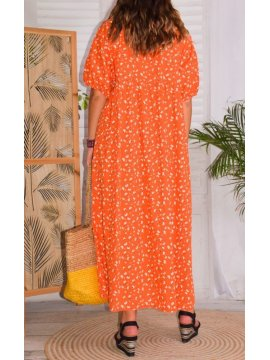 Romy, robe bohème orange dos