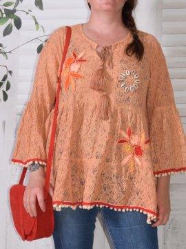 Trevi, tunique bohème en dentelle orange face