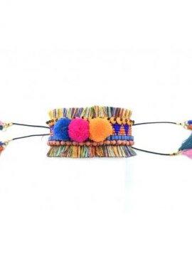 Bracelet manchette bohème perles et pompons