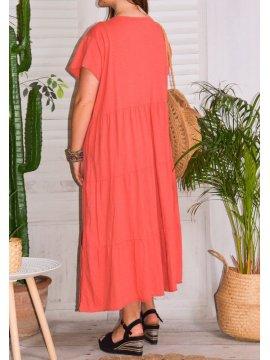 Cerise, robe grande taille romantique rose zoom dos