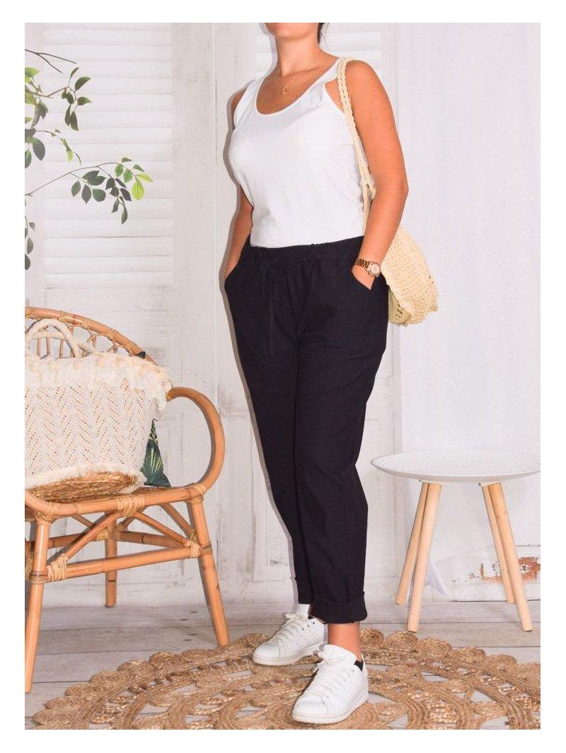 Pantalon Bruges marque Lagenlook avant noir