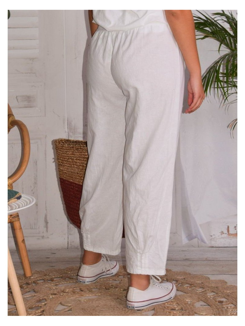 Lugano, Pantalon lin, marque Lagenlook gris dos