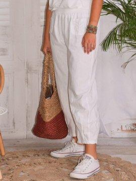 Lugano, Pantalon lin, marque Lagenlook gris coté