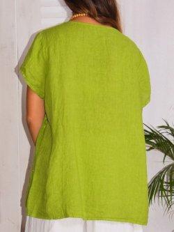 Libellule, top en lin Lagenlook - vert