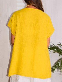 Libellule, top en lin Lagenlook - jaune