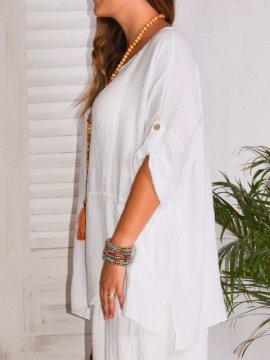 Emeline, tunique en lin Lagenlook blanc profil