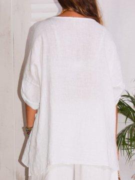 Emeline, tunique en lin Lagenlook blanc dos