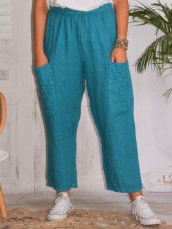 Rosalba, pantalon raccourci en lin grandes tailles,  Lagenlook - bleu canard
