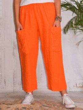 Rosalba, pantalon raccourci en lin grandes tailles, Lagenlook orange face