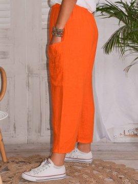 Rosalba, pantalon raccourci en lin grandes tailles, Lagenlook orange coté