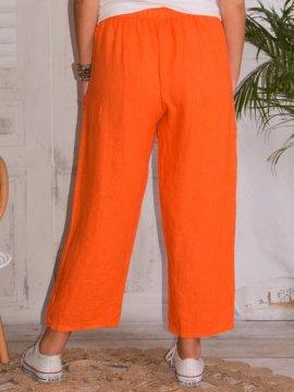 Rosalba, pantalon raccourci en lin grandes tailles, Lagenlook orange dos