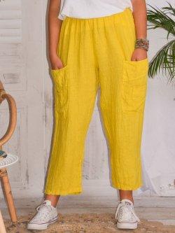 Rosalba, pantalon raccourci en lin grandes tailles,  Lagenlook - jaune