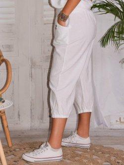 Genova, pantalon raccourci en lin grandes tailles,  Lagenlook - blanc