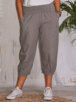Genova, pantalon raccourci en lin grandes tailles,  Lagenlook - taupe