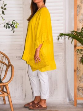 Eulalie tunique bohème, Provencal Days jaune profil