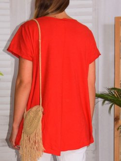 Zouzou, teeshirt coton skull, grandes tailles,  Lagenlook - rouge
