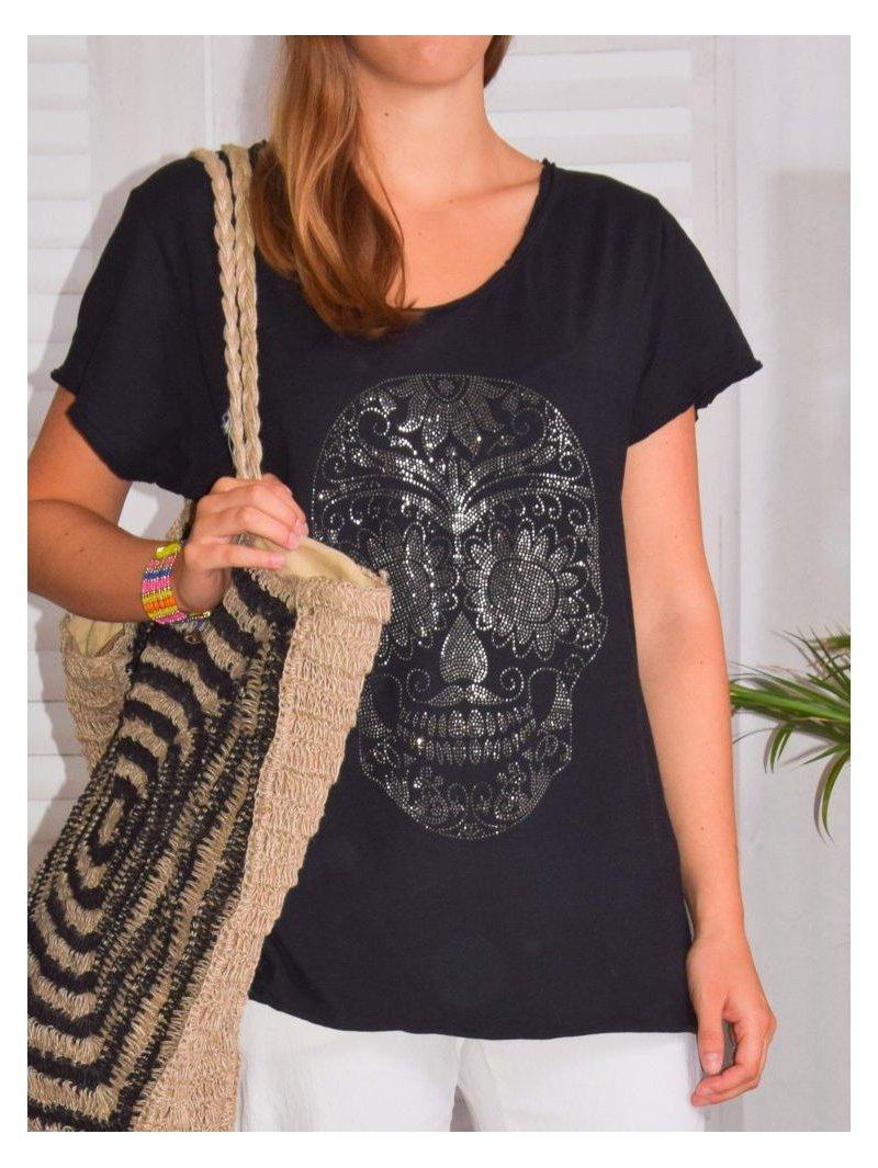 Zouzou, teeshirt coton skull, grandes tailles, Lagenlook noir zoom face