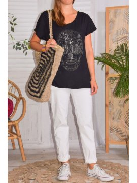 Zouzou, teeshirt coton skull, grandes tailles, Lagenlook noir face