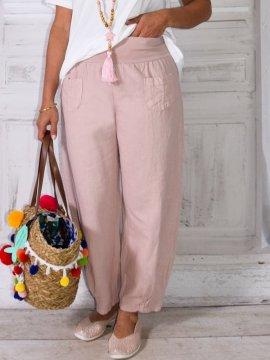 Lugano, Pantalon lin, marque Lagenlook rose zoom