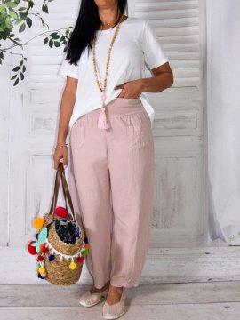 Lugano, Pantalon lin, marque Lagenlook rose avant