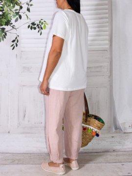 Lugano, Pantalon lin, marque Lagenlook rose dos