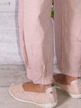 Lugano, Pantalon lin, marque Lagenlook rose dos zoom