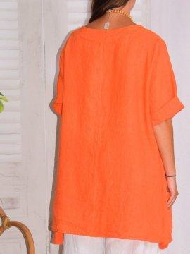 Lisbonne, tunique en lin, grande taille, Lagenlook orange dos
