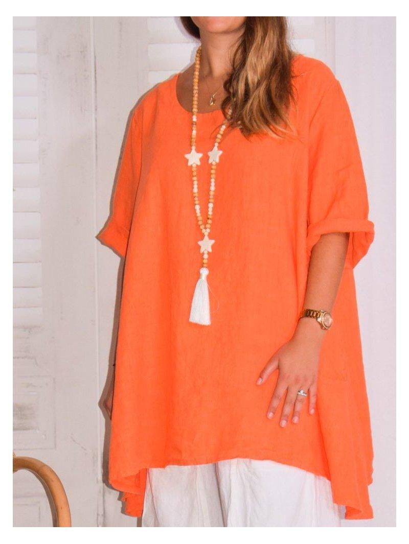 Lisbonne, tunique en lin, grande taille, Lagenlook orange face