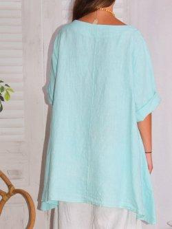 Lisbonne, tunique en lin, grande taille, Lagenlook - turquoise