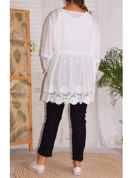 Nina, chemise bohème dentelle grande taille dos