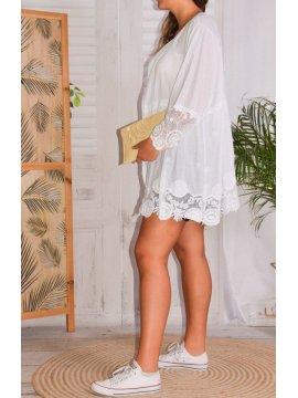 Nina, chemise bohème dentelle grande taille coté
