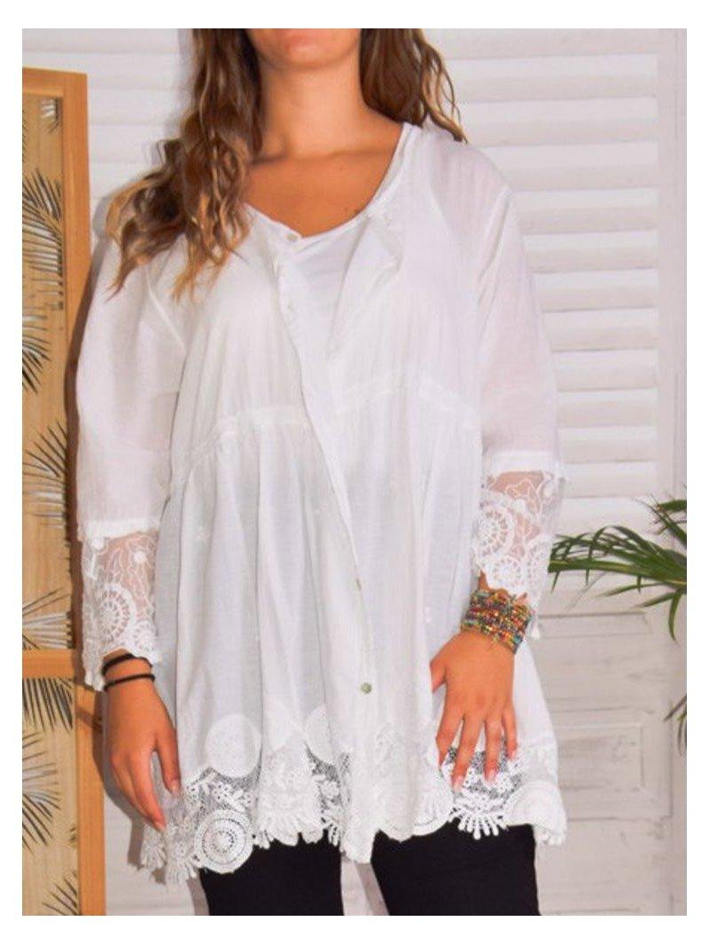 Nina, chemise bohème dentelle grande taille avant