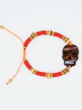 bracelet skull bohème rouge