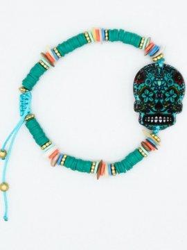 bracelet skull bohème vert