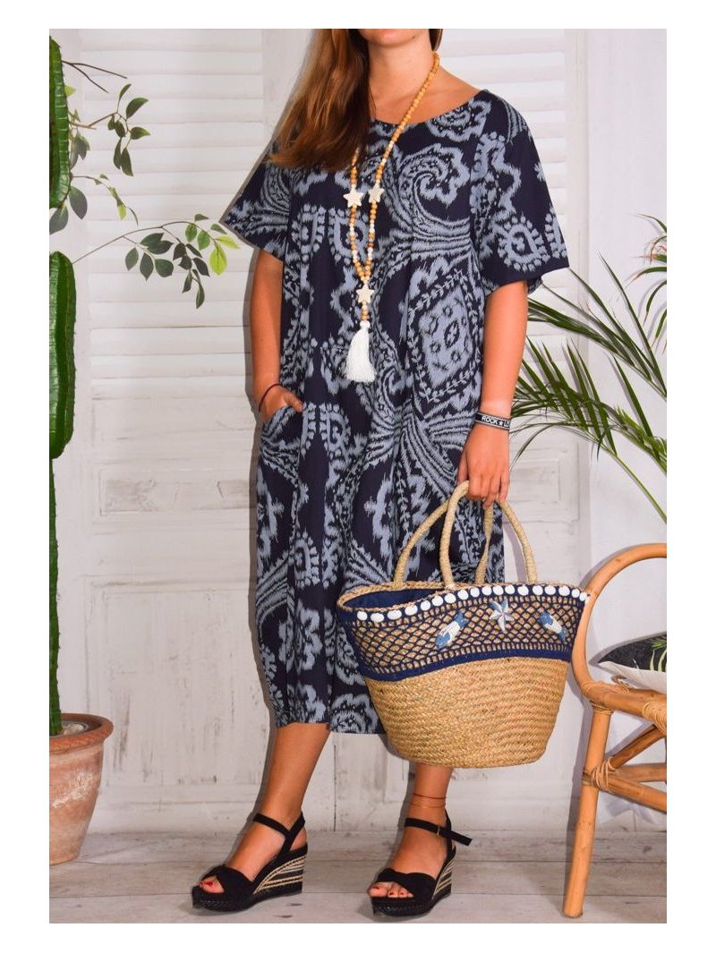 Hope, robe ty and dy, grande taille marine face