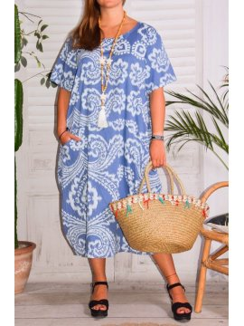Hope, robe ty and dy, grande taille bleu face