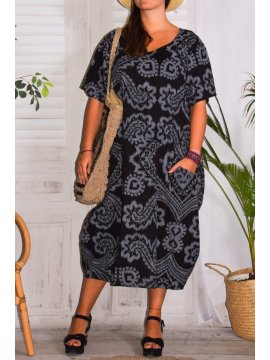 Hope, robe ty and dy, grande taille noir face