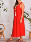 Leontine, robe en lin Lagenlook rouge profil
